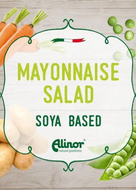 Vegan soya-based mayonnaise salad with potatoes, carrots and peas